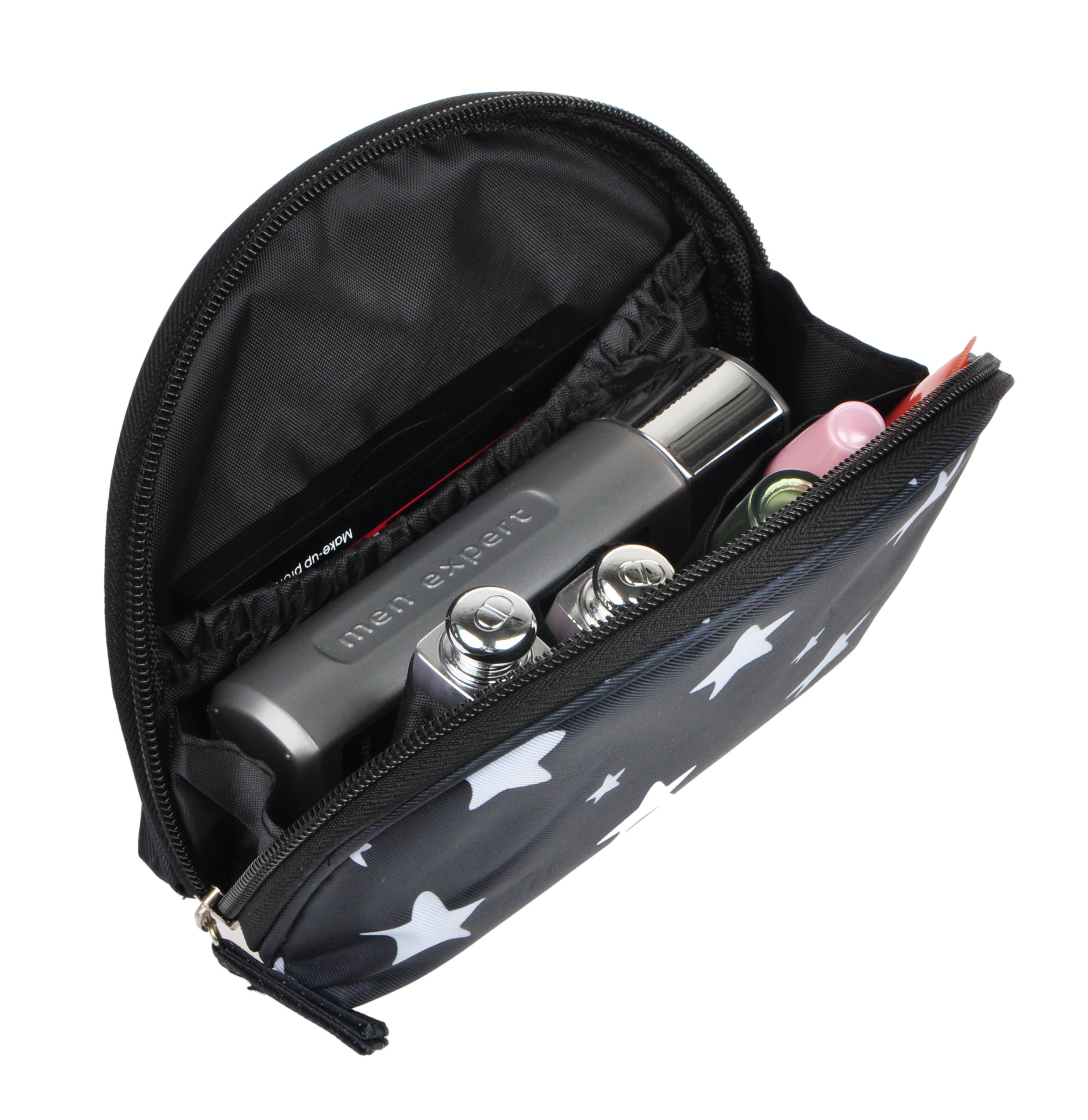BAGOOE Small Travel Round Toiletry Cosmetic Pouch Printed Handy Daily Storage Makeup Bag, Black Stars