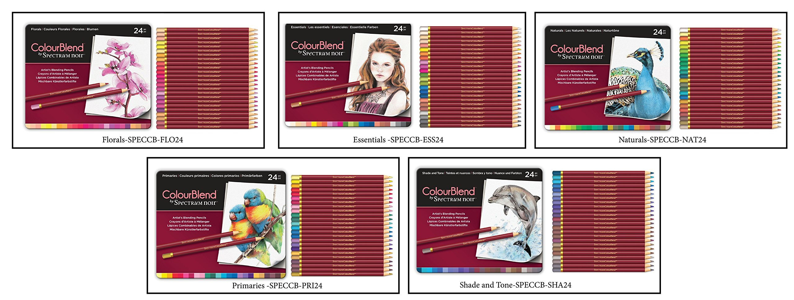 Set of 5 ColourBlend by Spectrum Noir New, 120 Artist's Pencils-Each Set 24 Piece Pencil Tin x 5- Florals, Essentials, Naturals, Primaries and Shade and Tone by Spectrum Noir