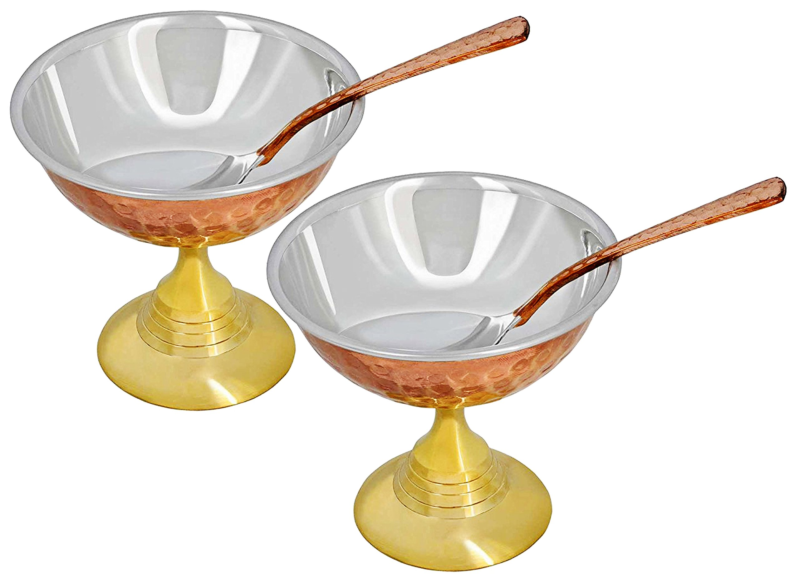 SKAVIJ Set of 2, Dessert Bowls with Spoon for Desserts Copper Stainless Steel Tableware, Diameter 4 Inches