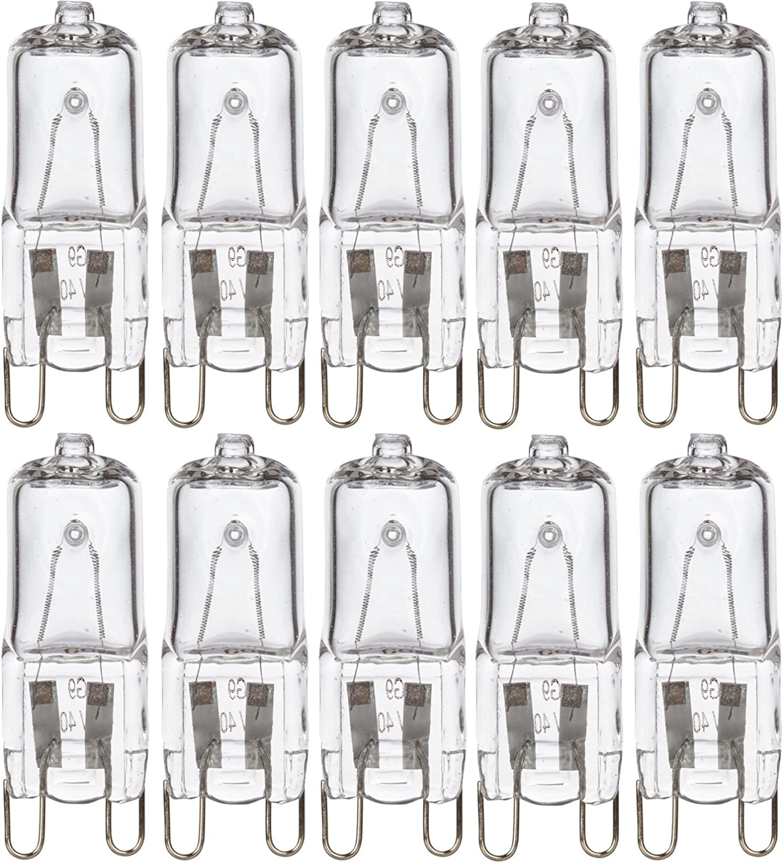 Simba Lighting Halogen Light Bulb G9 T4 40W JCD Bi-Pin (10 Pack) for Chandeliers, Pendants, Cabinet Lights, Landscape Lights, Desk and Floor Lamps, Wall Sconces, 120V Dimmable, 2700K Warm White