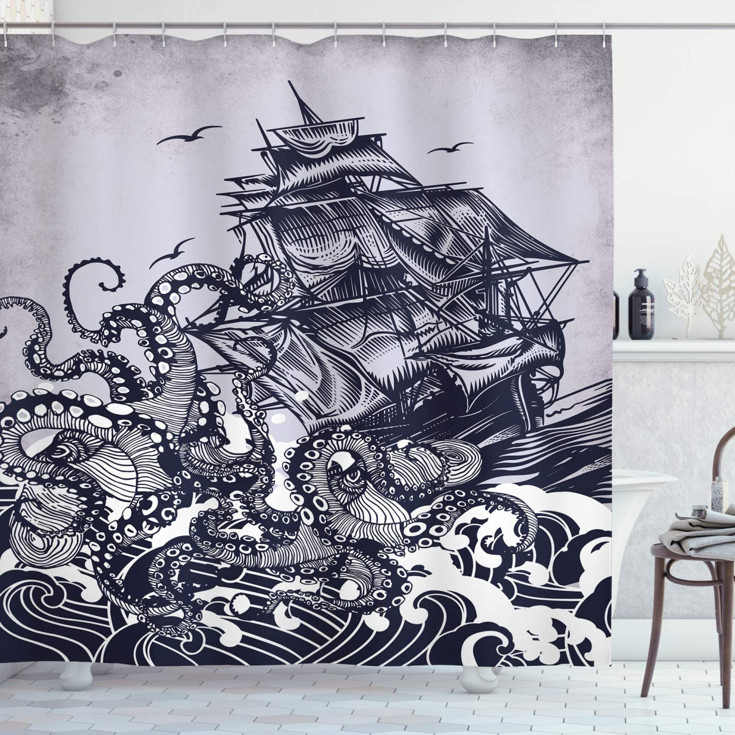 """Ambesonne Nautical Shower Curtain, Kraken Octopus Tentacles with Ship Sail Old Boat in Ocean Waves, Cloth Fabric Bathroom Decor Set with Hooks, 70"""" Long, Blue"""