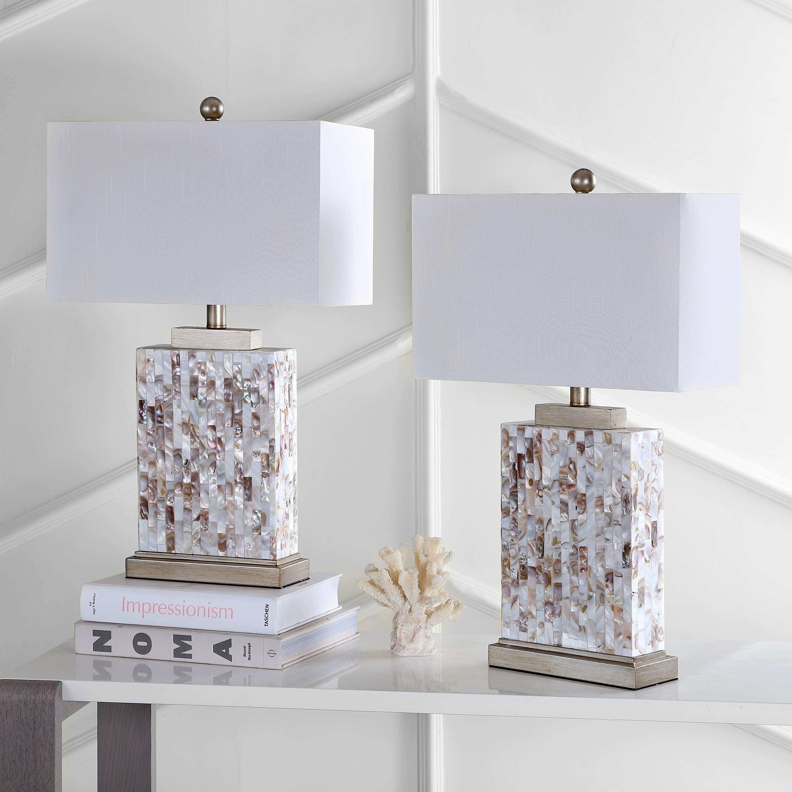 Safavieh Lighting Collection Tory Ivory Shell 25-inch Table Lamp (Set of 2)