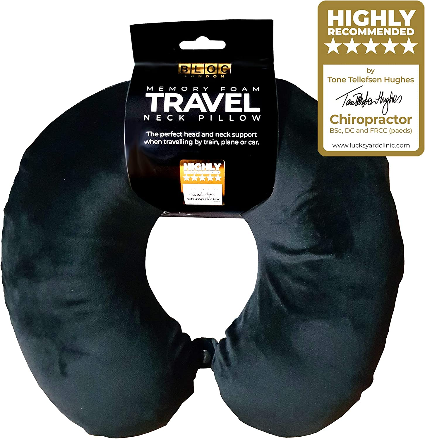 Machine Washable by Bloc London Luxury Travel Pillow Super Soft Velour with Firm Luxury Foam Home or Travel Memory Foam Neck Pillow//Support Pillow Ideal cusion for Work