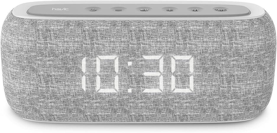 HAVIT Reloj Despertador Digital Altavoz Bluetooth portátil Bluetooth Radio FM y Reloj Despertador Digital con 2 Modos de Despertador (M29,Gris)
