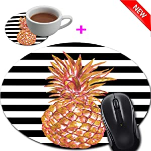 Mouse Pad and Coaster Set, Black White Stripes with Gold Pineapple Mouse Pad Round Non-Slip Rubber Mousepad Office Accessories Desk Decor Mouse Mat for Desktops Computer Laptops