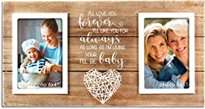VILIGHT Mother Daughter Picture Frame - Gifts for Mom of Bride and Groom - Forever Your Baby I'll Be - Holds 2 4x6 Photos