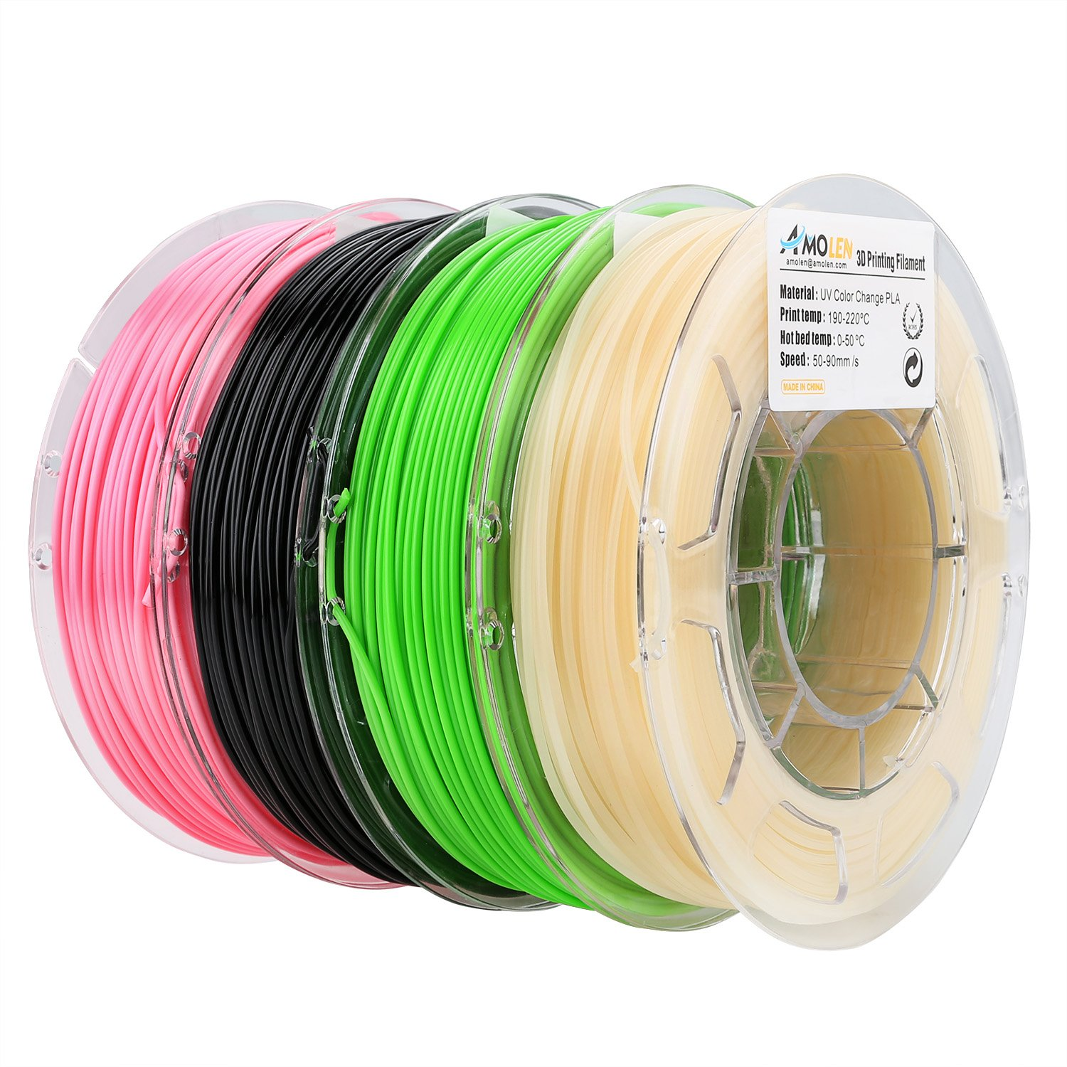 Shining Gold PLA Filament 1.75mm +//- 0.03 mm AMOLEN 3D Printer Filament Set Marble Bronze Includes Sample UV Color Change to Hot Pink and GITD Blue Filament. Wood 4x225g