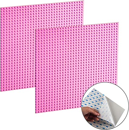 EKIND 2 PCS Self Adhesive Classic Building Brick Plate 10 x 10 Compatible with Building Brickyard Blocks All Major Brands Pink