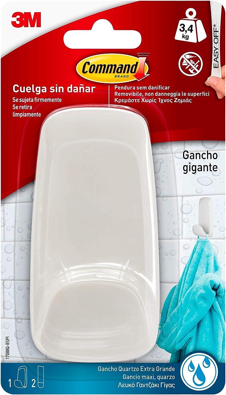 Command W1788Q Gancho grande resistente al agua color blanco