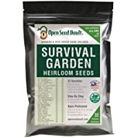 Survival Garden 15,000 Non GMO Heirloom Vegetable Seeds Survival Garden 32 Variety Pack by Open Seed Vault