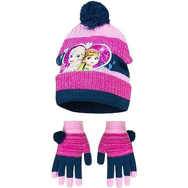 02eff7dd852e La Reine des Neiges bonnet et gants enfant fille Disney rose  Amazon ...