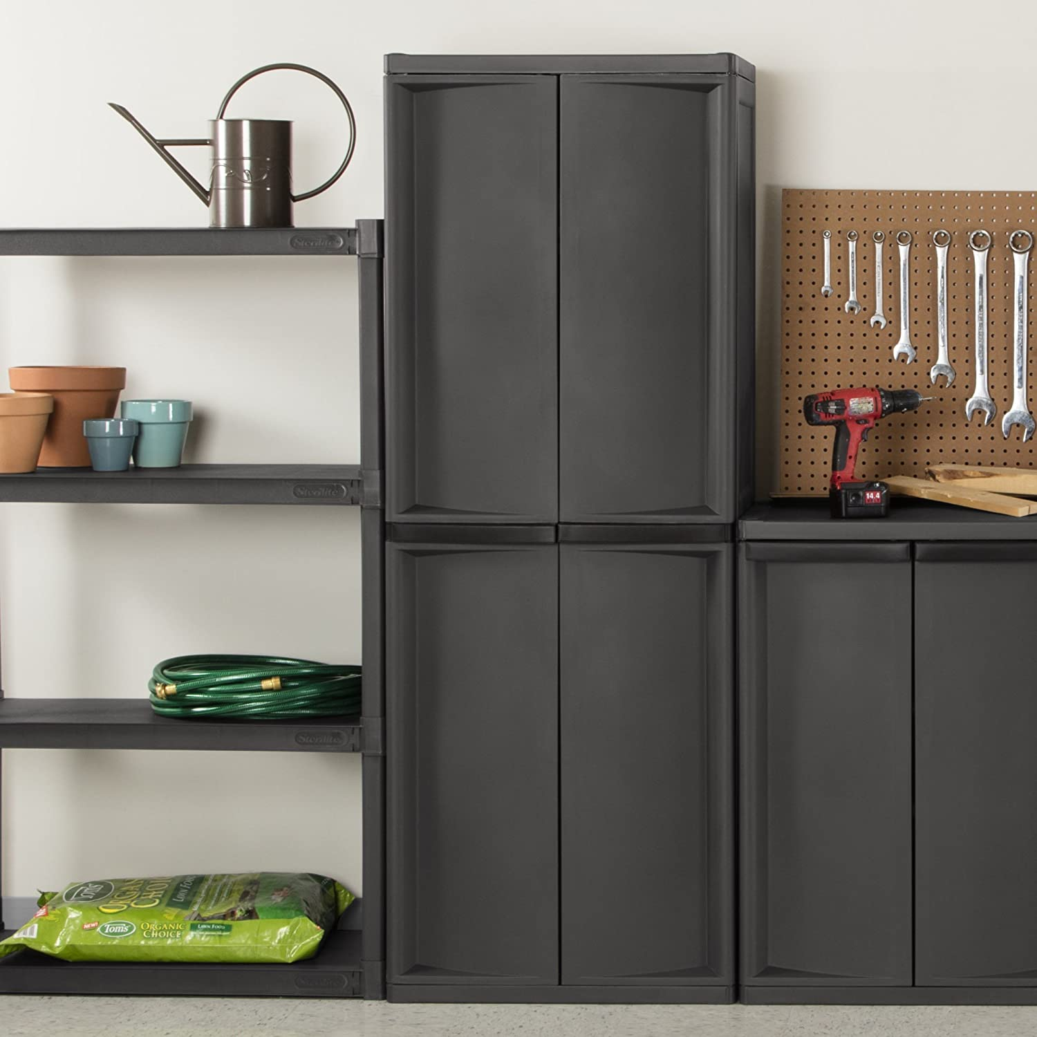 with cabinet com platinum w utility flat pack amazon shelf black sterilite kitchen home gray handles putty dp