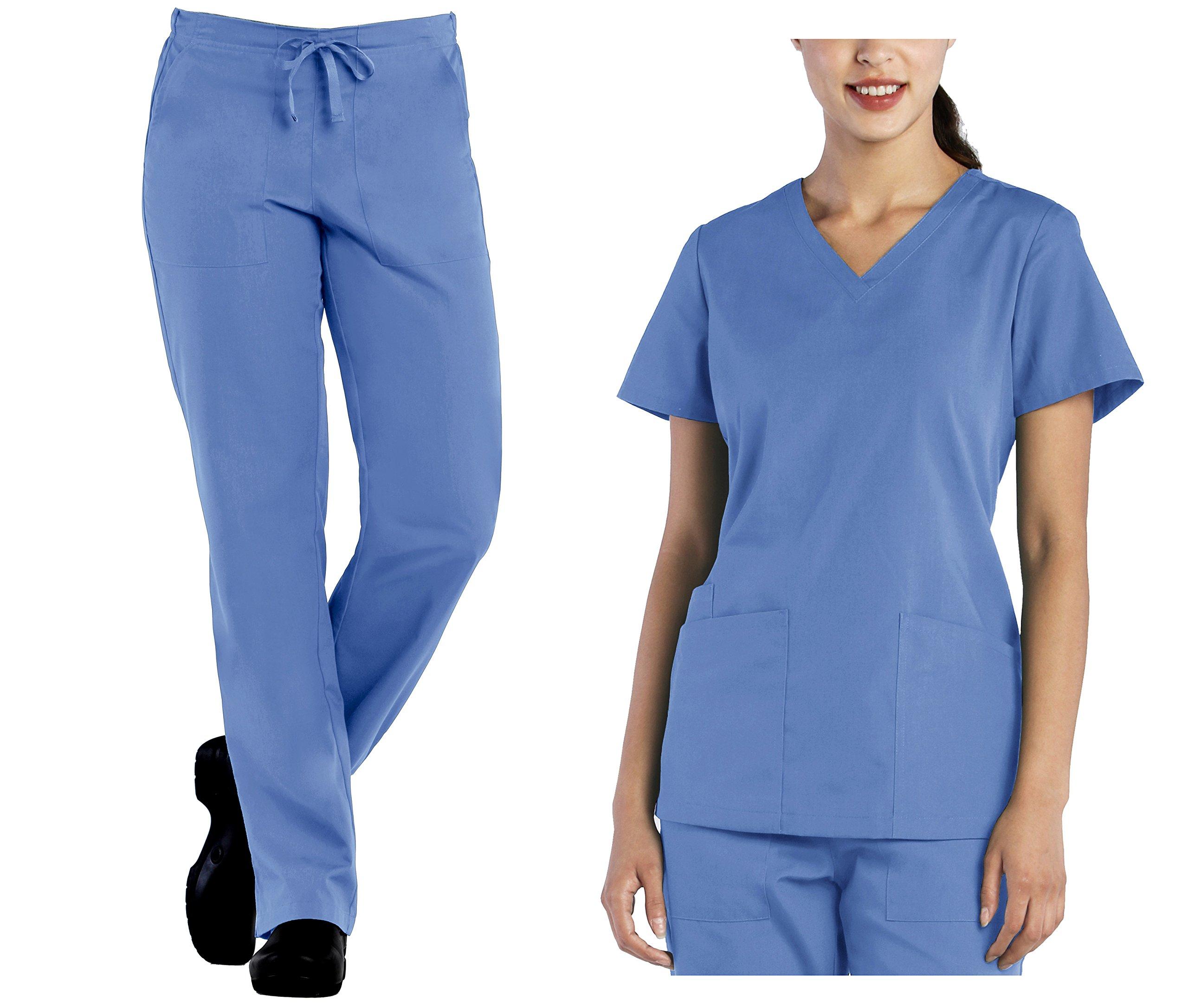 Tru Scrubs Ladies V-Neck Top & Drawstring Half Elastic Pant Scrub Set (Medium, Ceil Blue)