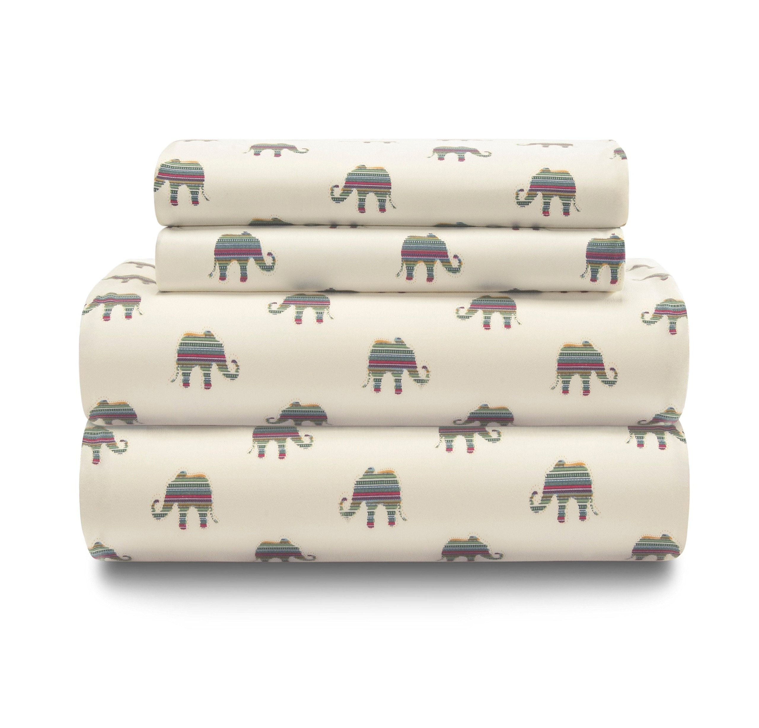 N-A 3 Piece Girls Elephant Cream Sheet Twin Set, Ivory Color Animal Print Boho Printed Kids Bedding Teen Bedroom, Whimsical Design Contemporary Zoo Jungle Safari, Polyester by N-A