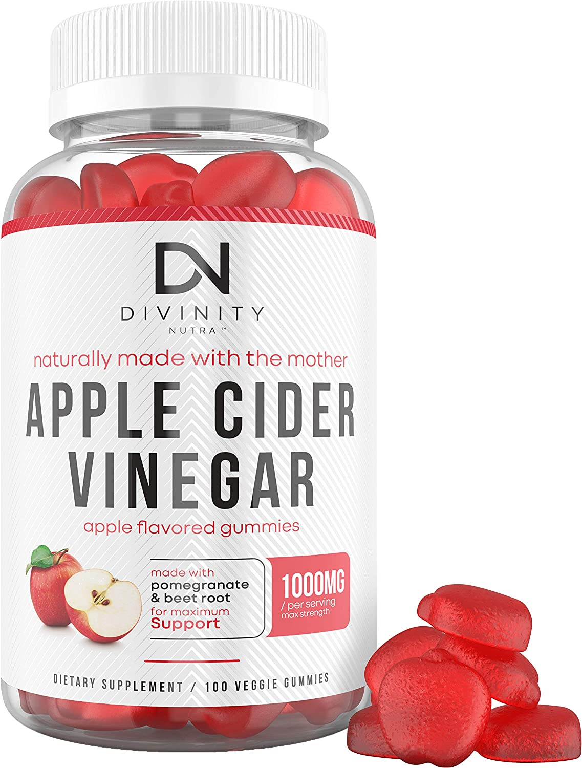 Apple Cider Vinegar Gummies for Weight Loss - Nutritional Supplement for Detox, Cleanse, and Immunity - Max Strength ACV Gummy Vitamins with The Mother - 100 Gummies (50 Day Supply)
