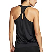 SYROKAN Women's Active Racerback Athletic Sports T-Shirt Long Yoga Crop Tank Top