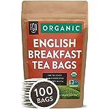 Organic English Breakfast Black Tea Bags | 100 Tea Bags | Chinese Keemun & Indian Assam Blend | Eco-Conscious Tea Bags in Kra