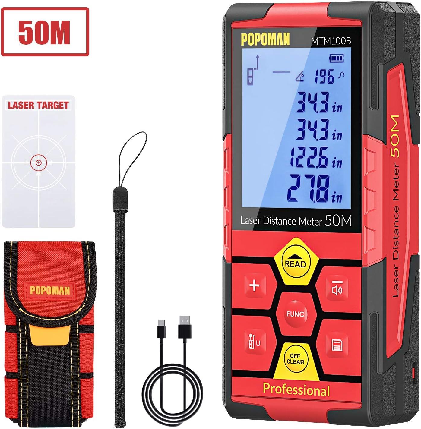 POPOMAN Telémetro láser 50m, USB Carga 30mins, Decoracion interior, 99 Datos, Medidor Láser, Sensor de Ángulo Electrónico, 2.25'' LCD Pantalla, m/in/ft/ft+in, Pitagórico, Distancia, Volumen-MTM100B