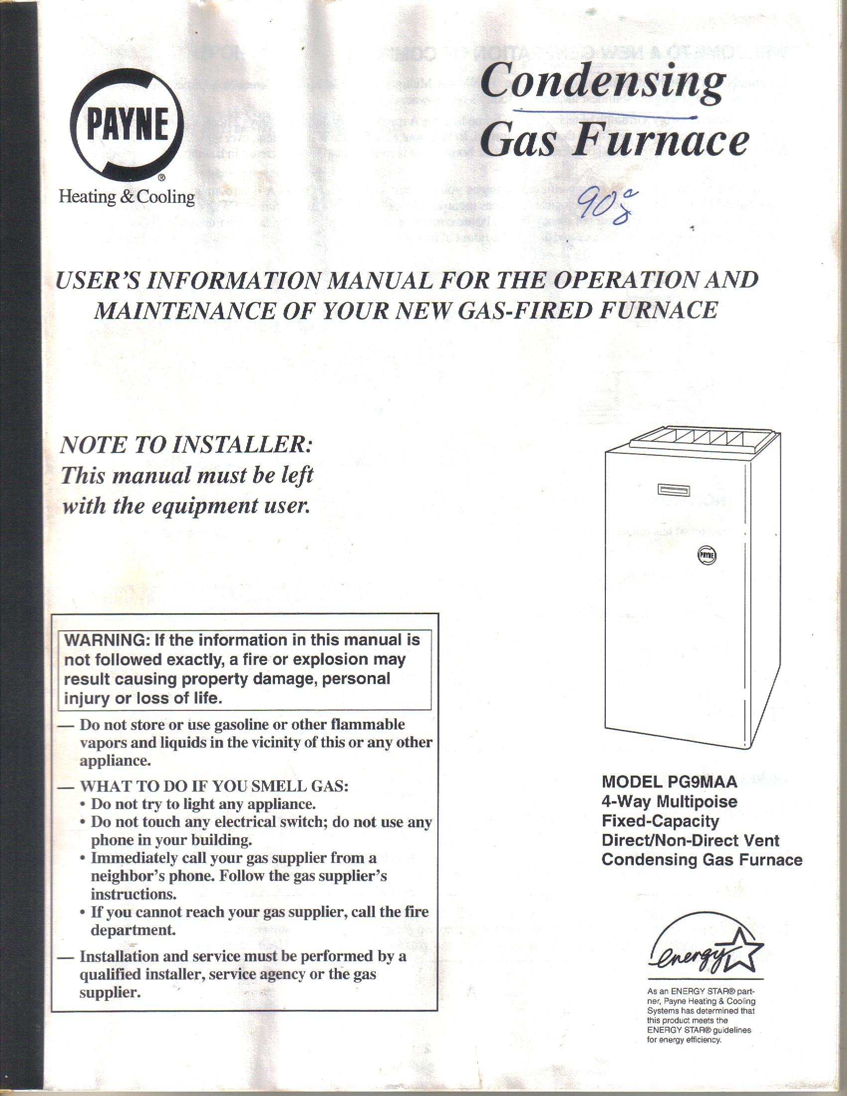 payne model pg9maa condensing gas furnace, user's installation service  operator's manual-owner's guide paperback – 1997