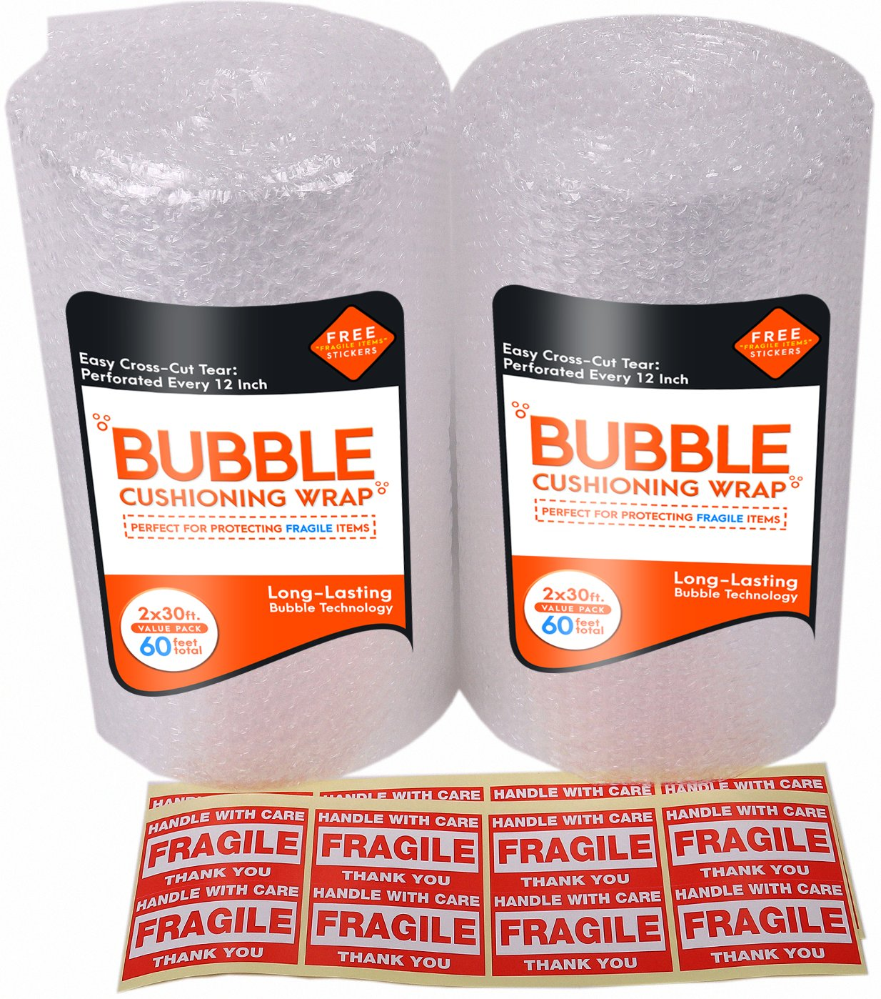 2-Pack Bubble Cushioning Wrap Rolls for Heavy-Duty Packing (3/16'', 12'' x 60 ft Total), Easy-to-Tear 12'' Sheets, Plus Free 16 'Fragile, Handle with Car