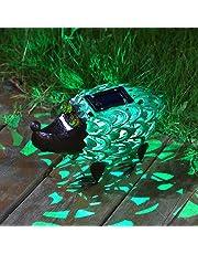 Takemeuro Statue de Lampes solaires d'extérieur Décor, Mignon Hérisson Solaire Figurines décoratifs en métal Blanc Chaud LED Lumières décoratives pour Patio, Pelouse, fête