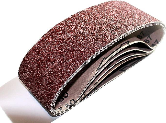 10 DKB tissus abrasives 75 x 533 mm Schleifband Ponçeuse à bande Grain 80