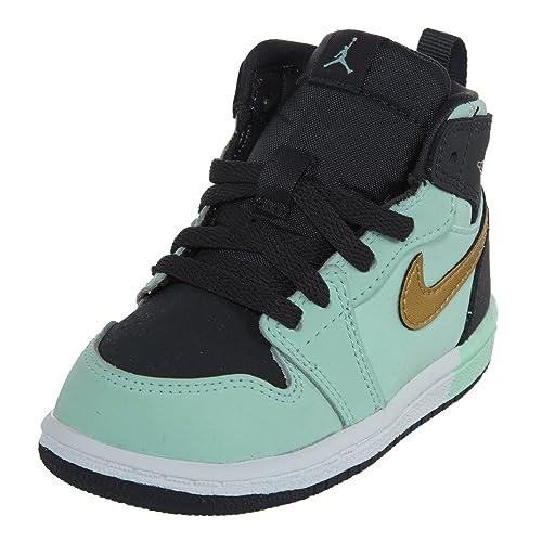 6f769f4a82d Amazon.com   Nike Jordan 1 Retro HIGH GT Boys Boots 705324-300_5C - Mint  Foam/Metallic Gold-Anthracite-White   Boots