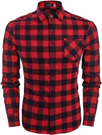 Camisa a cuadros con bolsillo frontal de manga larga para hombre de Hasuit, ajuste regular