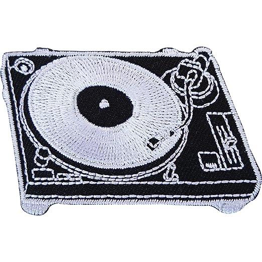 DJ Tocadiscos cubierta bordado Sew de hierro en parche para record ...