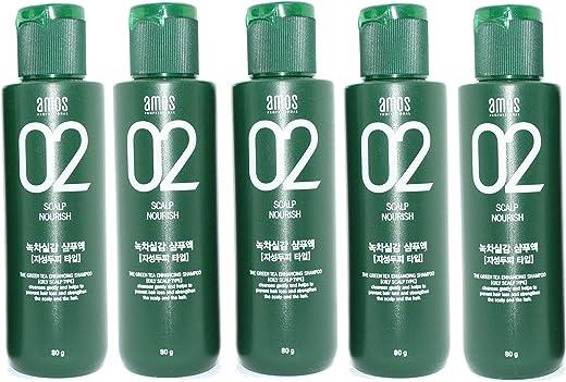 Amos Scalp 02 Feel the Green Tea Shampoo 80g X 5EA Hair Loss Protect Scalp Care (Oily Scalp)