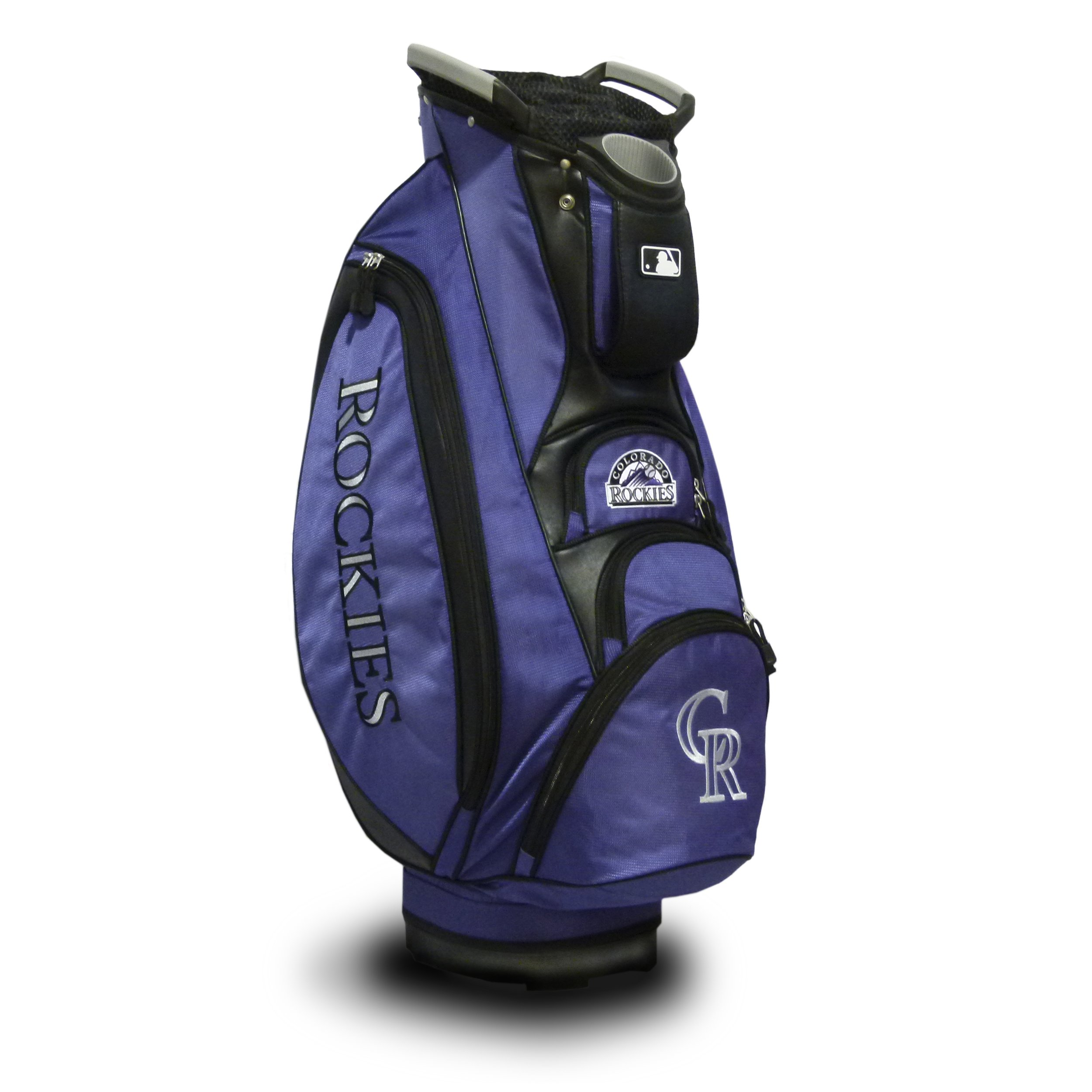 Team Golf MLB Colorado Rockies Victory Golf Cart Bag, 10-way Top with Integrated Dual Handle & External Putter Well, Cooler Pocket, Padded Strap, Umbrella Holder & Removable Rain Hood