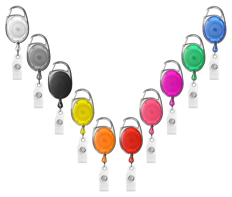 1 x Karteo® Ausweisjojo rosa | Ausweis Jojo oval | Vinylstrap gewerbeverstärkt und Aufrollmechanismus | für Ausweishüllen Kartenhüllen Ausweishalter Kartenhalter