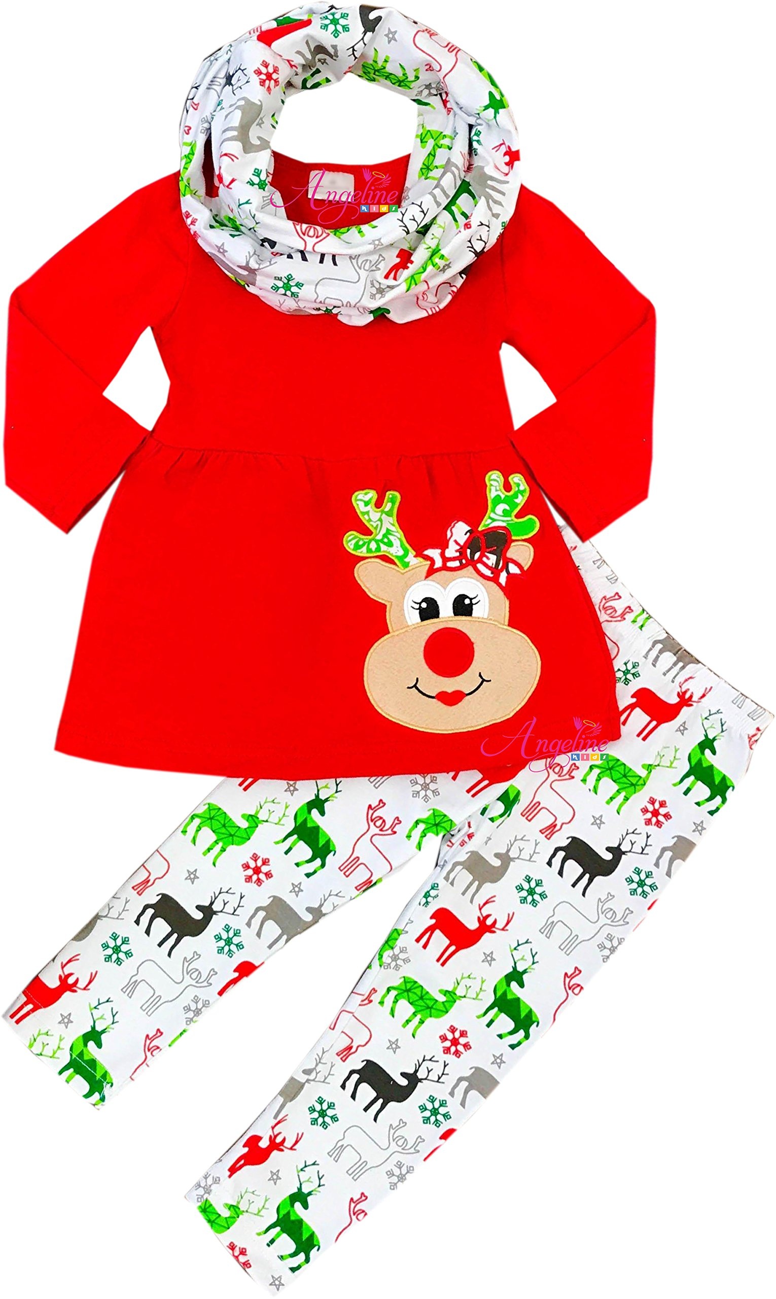 Angeline Boutique Clothing Girls Christmas Holiday Red Nose Rudolph Applique Scarf Scarf Set 3T/S