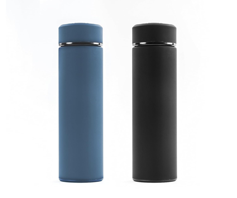 スポーツウォーターボトル17oz :セットof 2つのブラックとティールIce 24 hr /ホットfor 12 hr B076WGTRT7