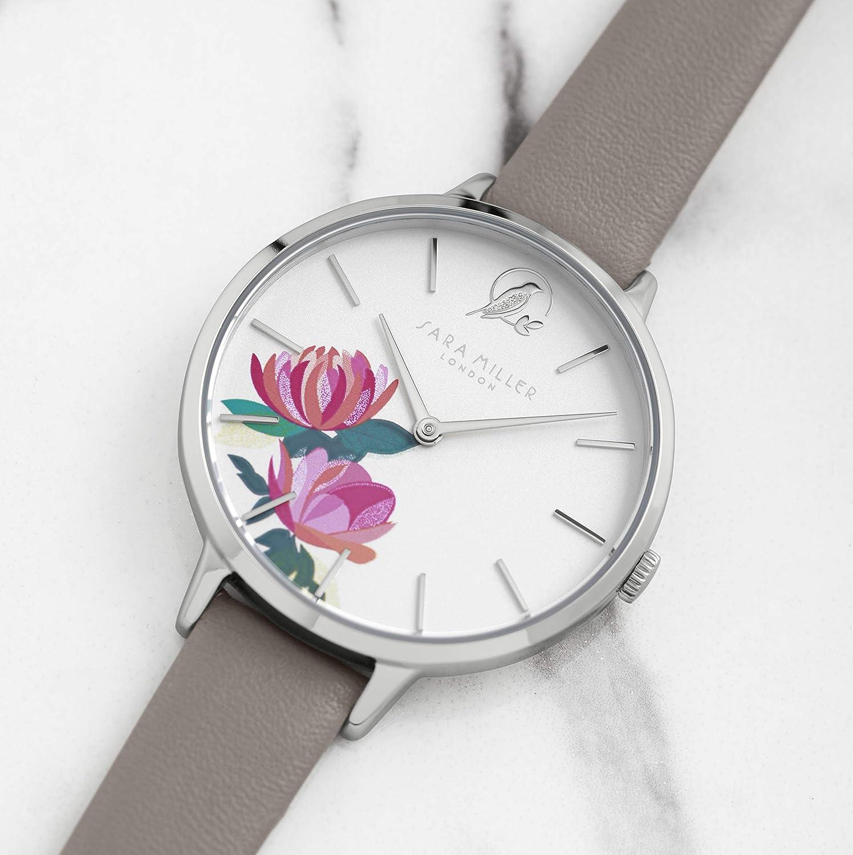 Sara Miller The Peony Collection SA2039 - Reloj Chapado en Plata: Amazon.es: Relojes