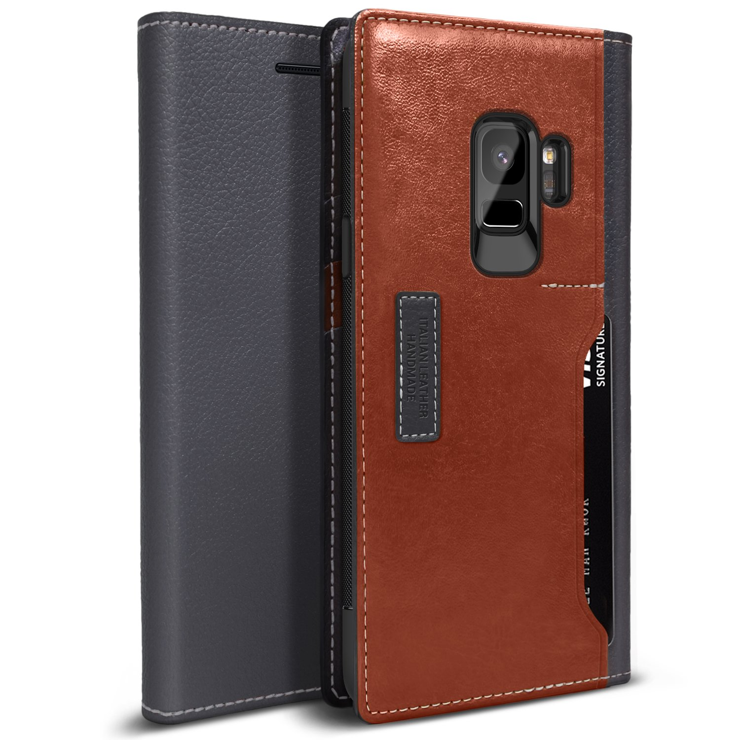 Galaxy S9 Case, OBLIQ [K3 WALLET], Flip Cover with Four Credit Card & ID Pocket Slots Stylish Wallet Case made with Premium Italian Leather with Drop Protection & Shock Absorbing Cushions for the Samsung Galaxy S9 (2018). (Black Gray/Brown)