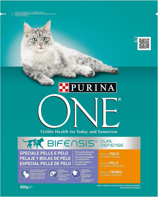 PURINA ONE Bifensis Pienso para Gatos Cuidado de Pelaje y Bolas de Pelo Pollo y Cereales 8 x 800 g: Amazon.es: Productos para mascotas