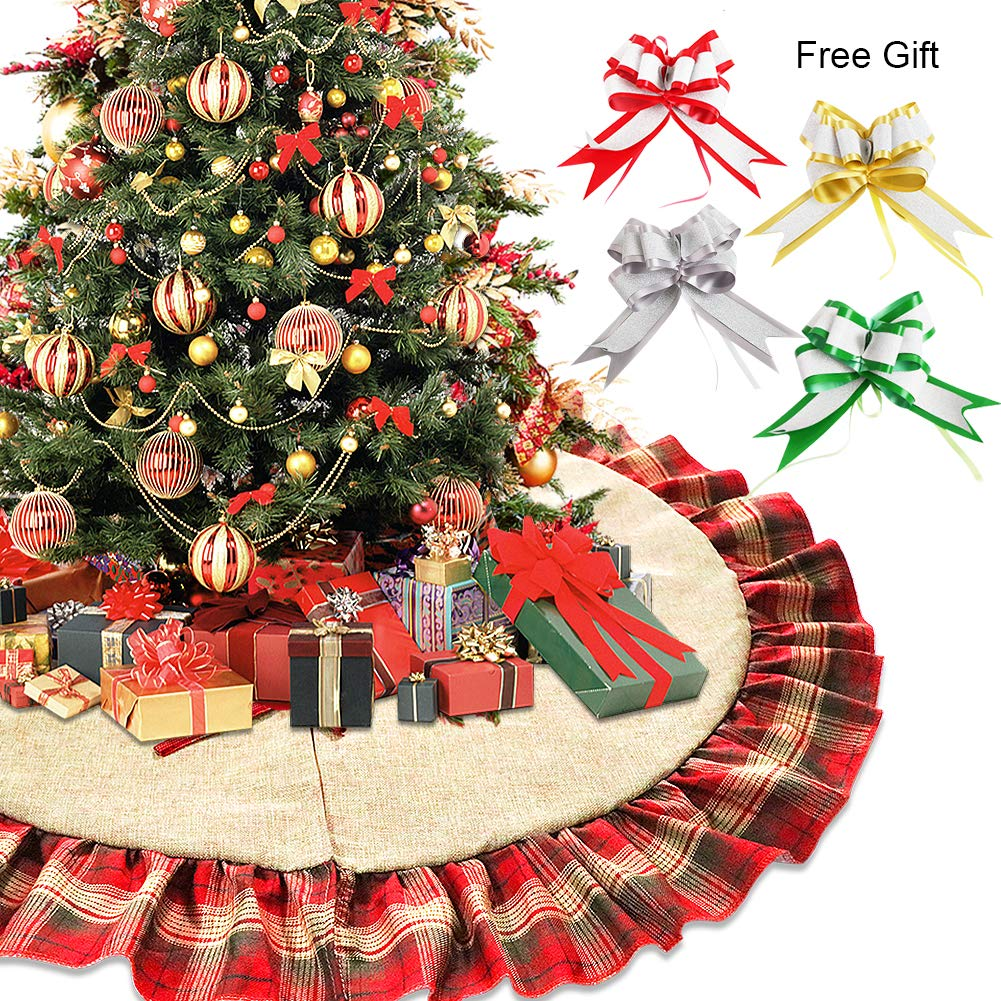 West Bay Christmas Tree Skirt, 48 Inch Linen Christmas Tree Skirt Red and Black Flounced Burlap Plaid with 3Pcs Large Colorful Bows Christmas Tree Party Holiday Decorations
