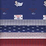 Stoffpak - 5 Coupons Tissus - Collection 'bébé matelot' - BLEU - 35 x 50 cm chacun
