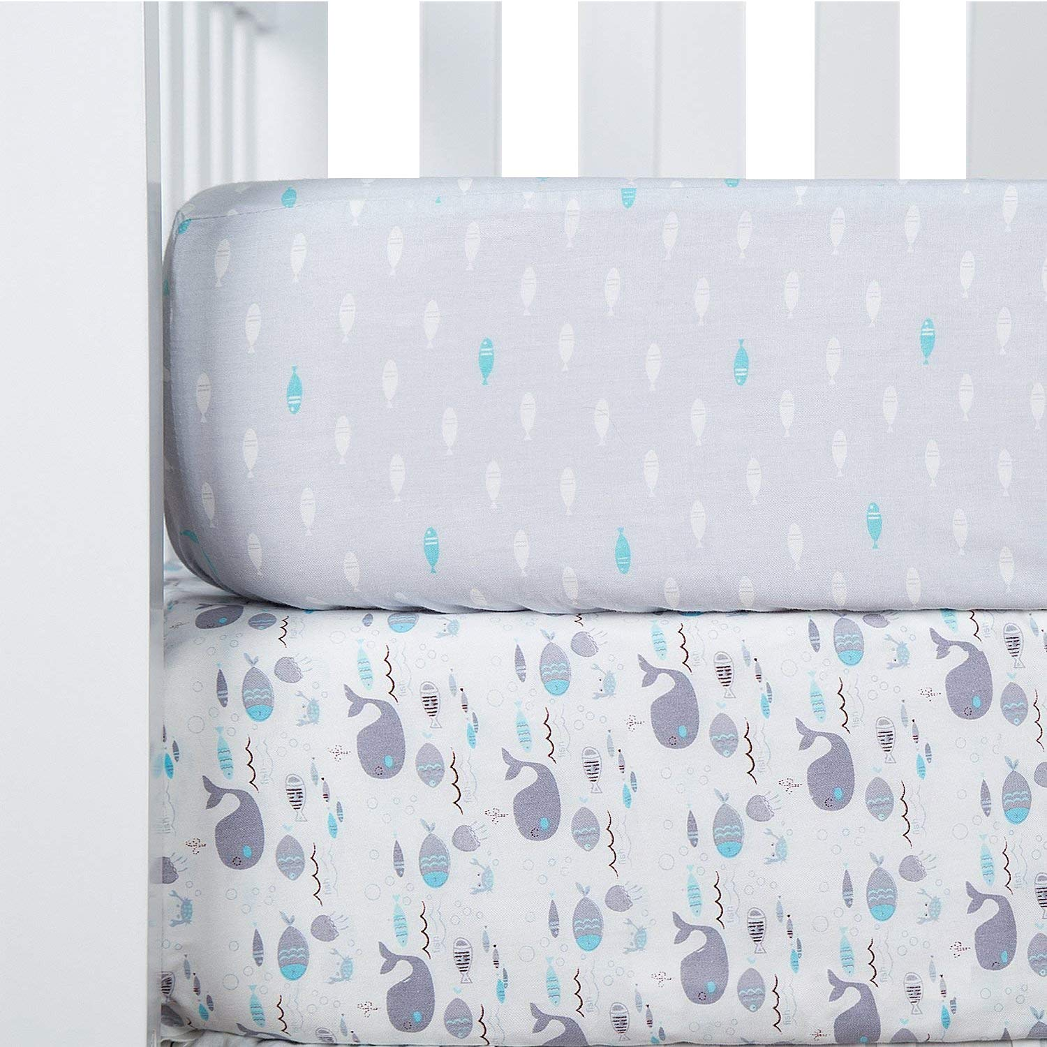 TILLYOU Printed Whale Crib Sheets Set, 100% Egyptian Cotton Toddler Sheets for Baby Boys Girls, Soft Breathable Hypoallergenic, 28''x52'', 2 Pack Sea World & Ocean Fish by TILLYOU
