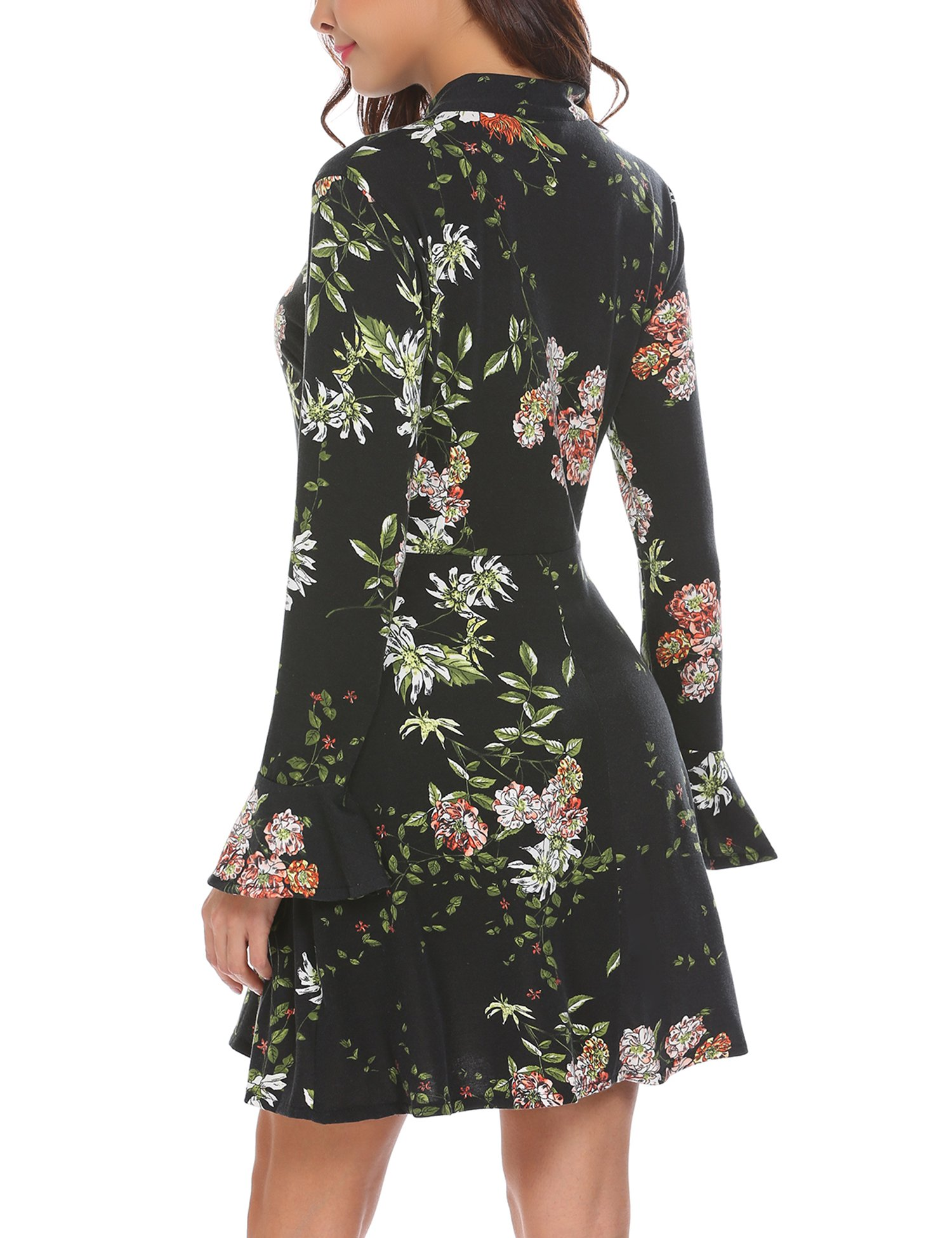 ACEVOG Women's Casual Floral Print Bell Sleeve Fit and Flare Dress (X-Large, Black) by ACEVOG (Image #5)