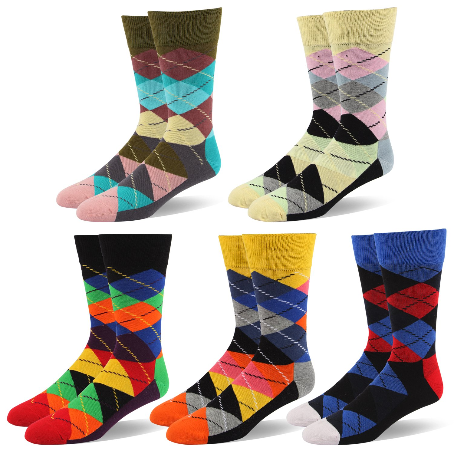 90% Cotton Men Dress Socks -Assorted style Fun Designed Patterned Colorful For Casual Home Size 9 10 11 12 13 14 15 16