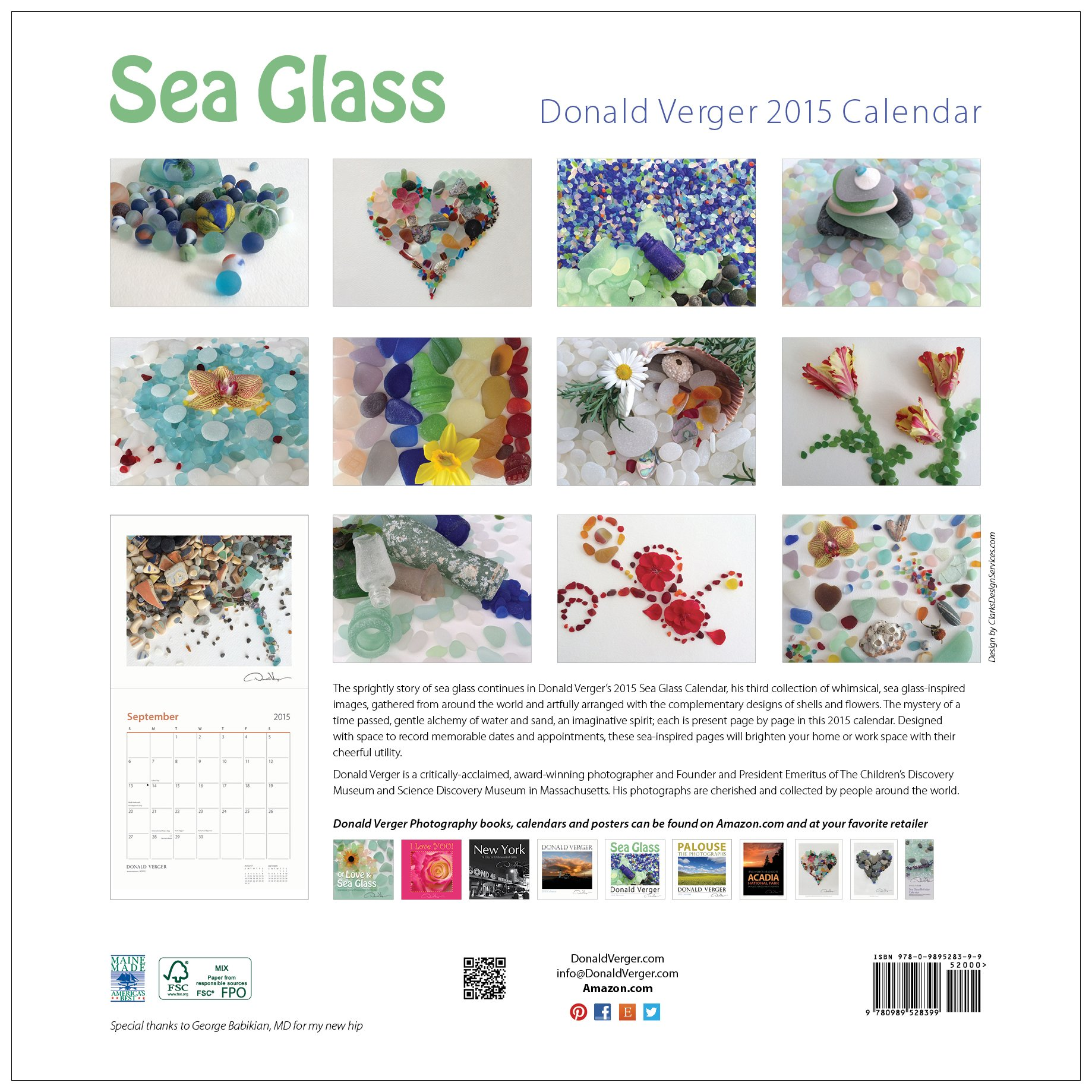 2015 SEA GLASS Fine Art Nature Wall Calendar 12X12 - A Unique Great Birthday, Anniversary, Valentines Day, Mothers Day, Wedding & Best Christmas Gift by Donald Verger Photography (Image #2)
