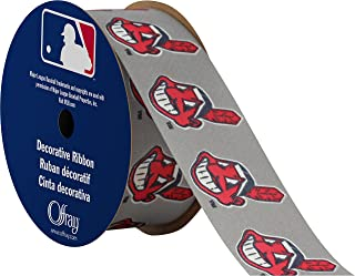 """product image for Offray MLB Cleveland Indians Fabric, 1-5/16"""" X 9FT Ribbon"""