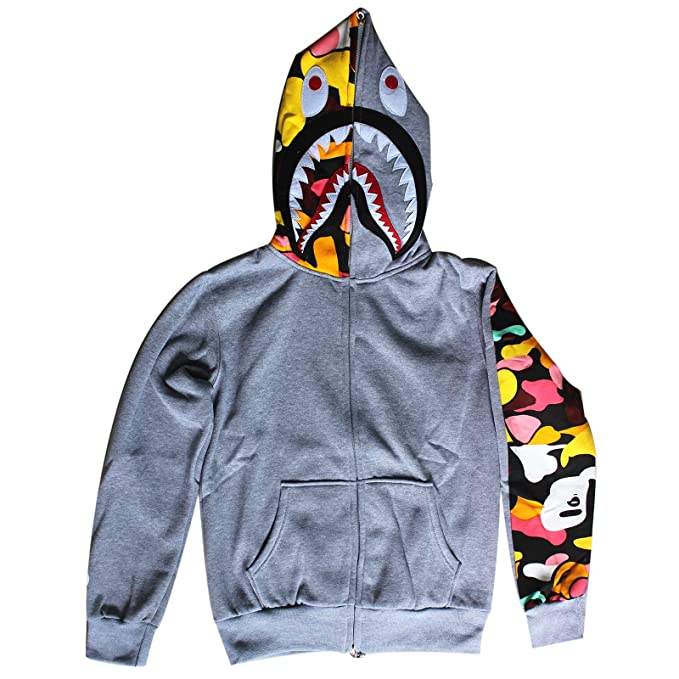 e178729b9882 ETASSO Unisex 3D Print Monkey Hooded Sweatshirt Double Zippers Pullover Long  Sleeve Hoodie Plus Velvet Coat  Amazon.co.uk  Clothing