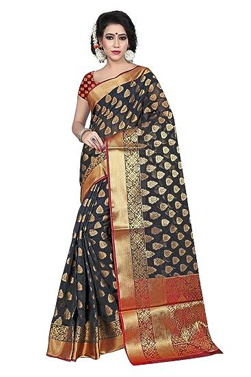 bc6cd4a159 Silk Zone Women's Banarasi Silk Black Silk Saree With Blouse  Piece(SILKZ00085_Black_Free Size)