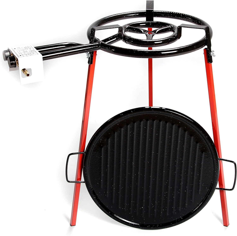 Vaello Campos- La Valenciana 6040 ECO SET GRILL 46: patas soporte acoplables cuadradas + asador grill 46 cm + quemador 400 mm.