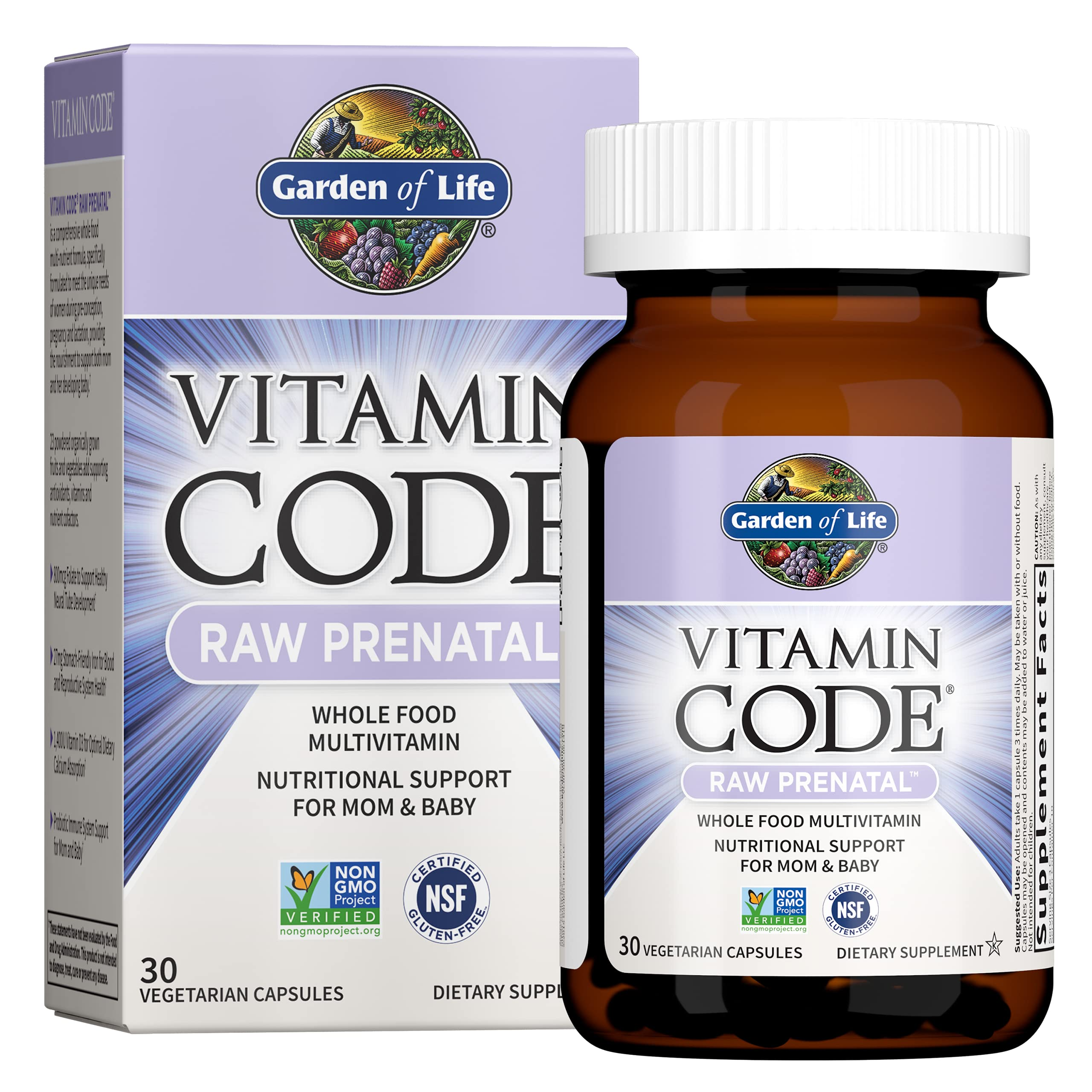 Garden of Life Vitamin Code Raw Prenatal Multivitamin, Whole Food Prenatal Vitamins with Iron, Folate not Folic Acid, Probiotics, Best Vegetarian Non-GMO Gluten Free Prenatals for Women, 180 Capsules