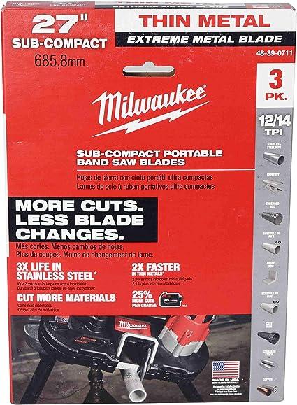 "Milwaukee 48-39-0711 27/"" 18-Tpi Extreme Thin Metal Bandsaw Blades 3"