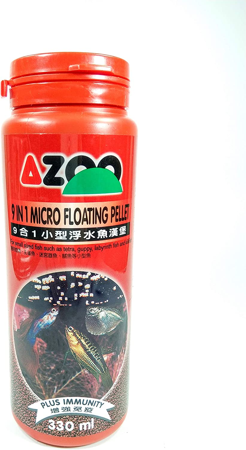 Azoo 9 in 1 Micro Floating Pellet for Small Sized Fish Such as Tetra, Guppy, Labyrinth Fish and Killifish Fish Food 330ml